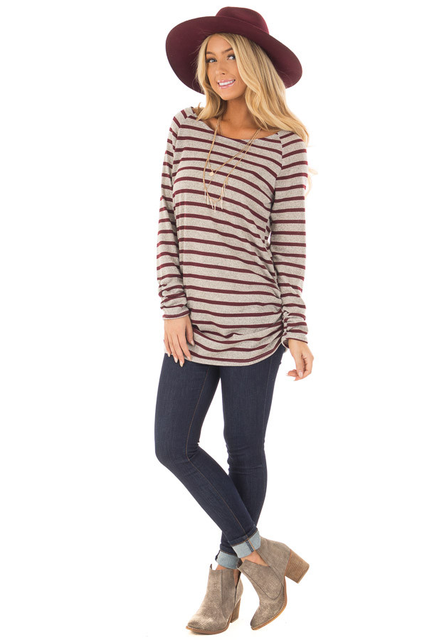 Burgundy and Heather Grey Striped Long Sleeve Top front full body