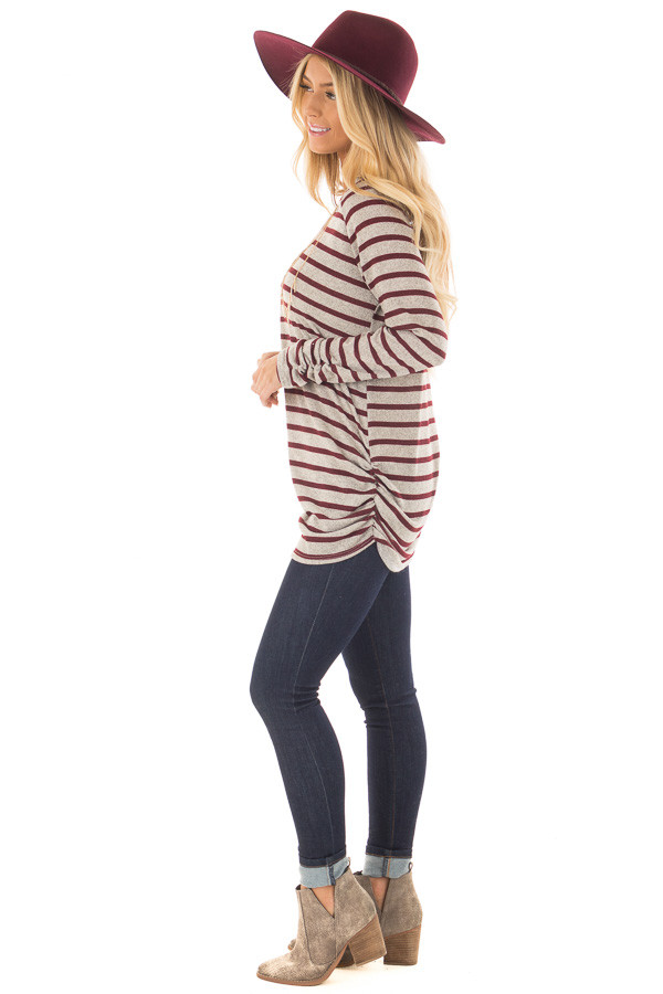 Burgundy and Heather Grey Striped Long Sleeve Top side full body