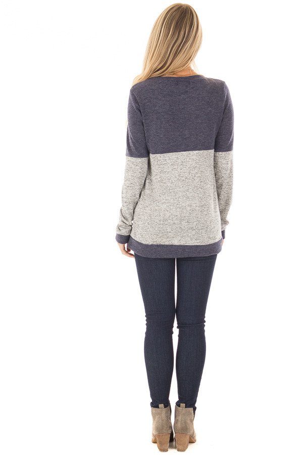 Heather Grey and Navy Long Sleeve Top with Front Pocket back full body