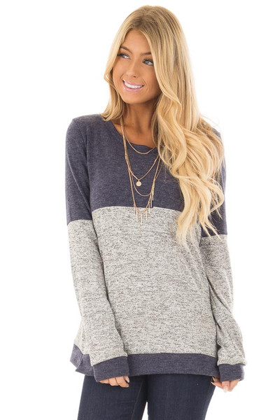 Heather Grey and Navy Long Sleeve Top with Front Pocket front close up