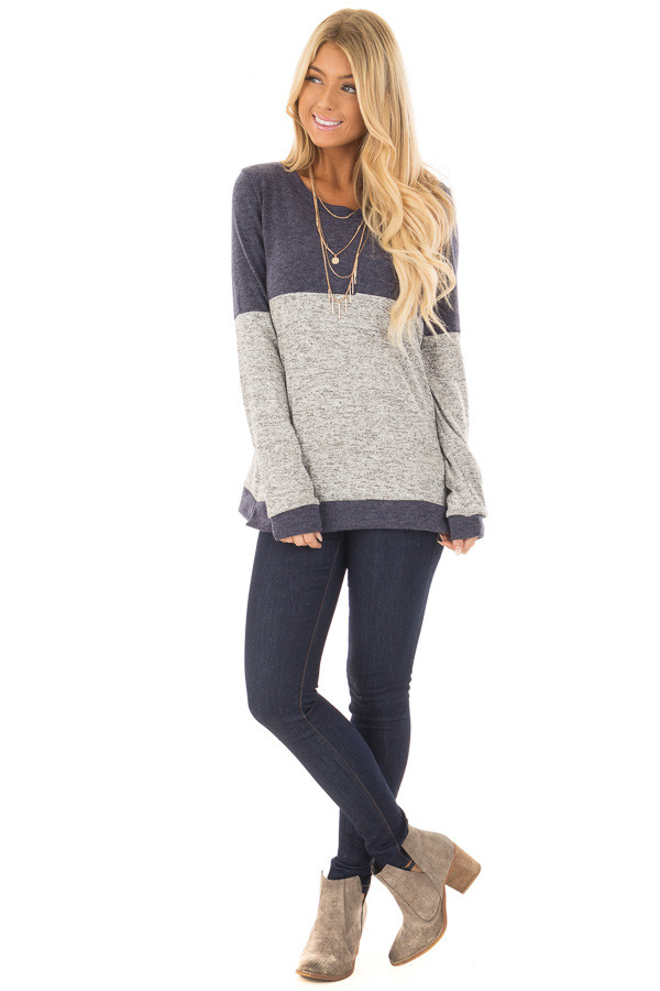Heather Grey and Navy Long Sleeve Top with Front Pocket front full body