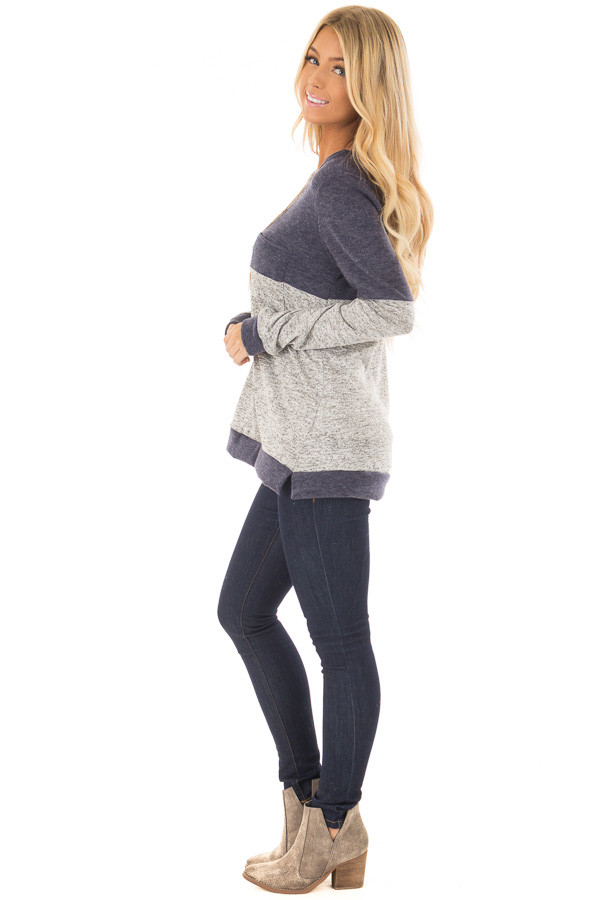 Heather Grey and Navy Long Sleeve Top with Front Pocket side full body