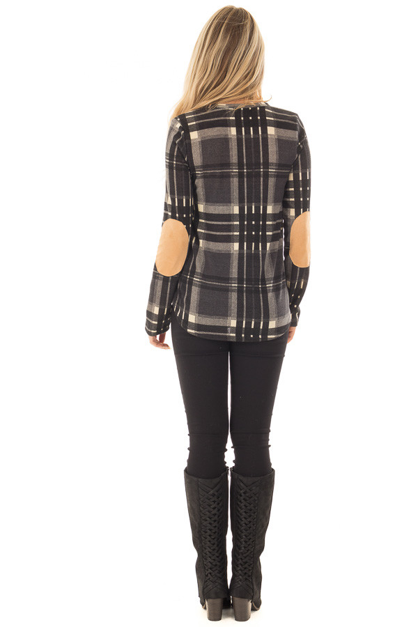 Charcoal Plaid Long Sleeve Top with Faux Suede Elbow Patches back full body