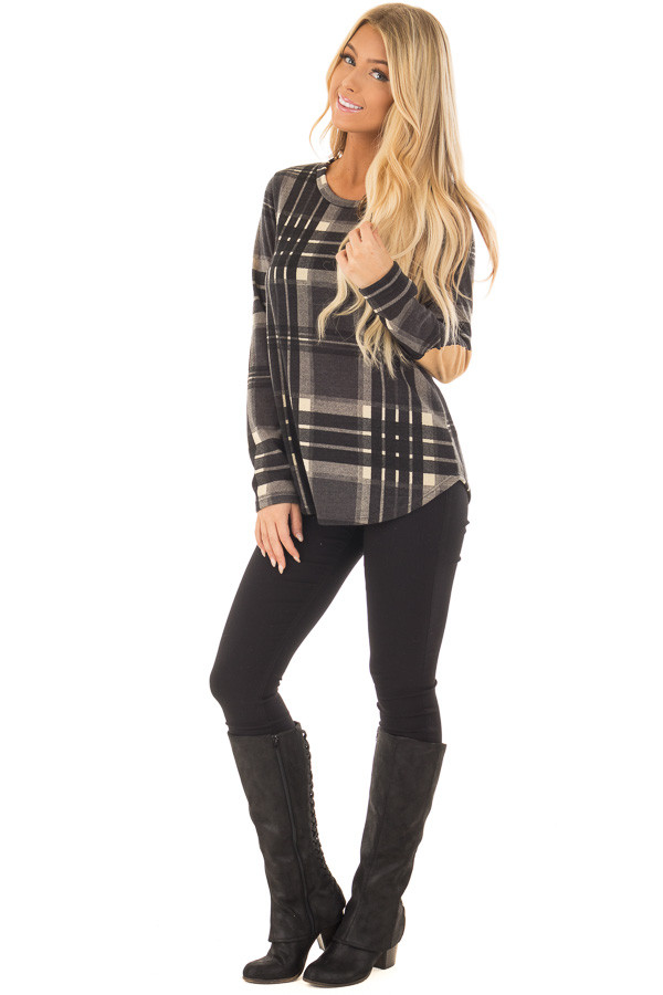 Charcoal Plaid Long Sleeve Top with Faux Suede Elbow Patches front full body