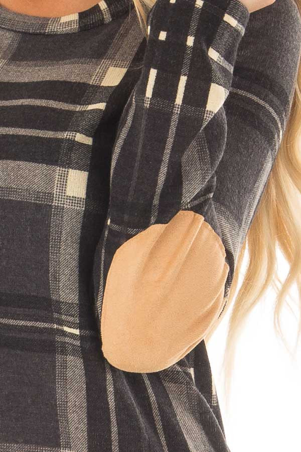 Charcoal Plaid Long Sleeve Top with Faux Suede Elbow Patches detail