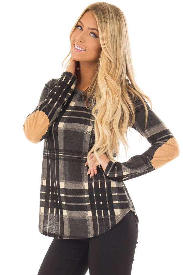 Charcoal Plaid Long Sleeve Top with Faux Suede Elbow Patches front close up