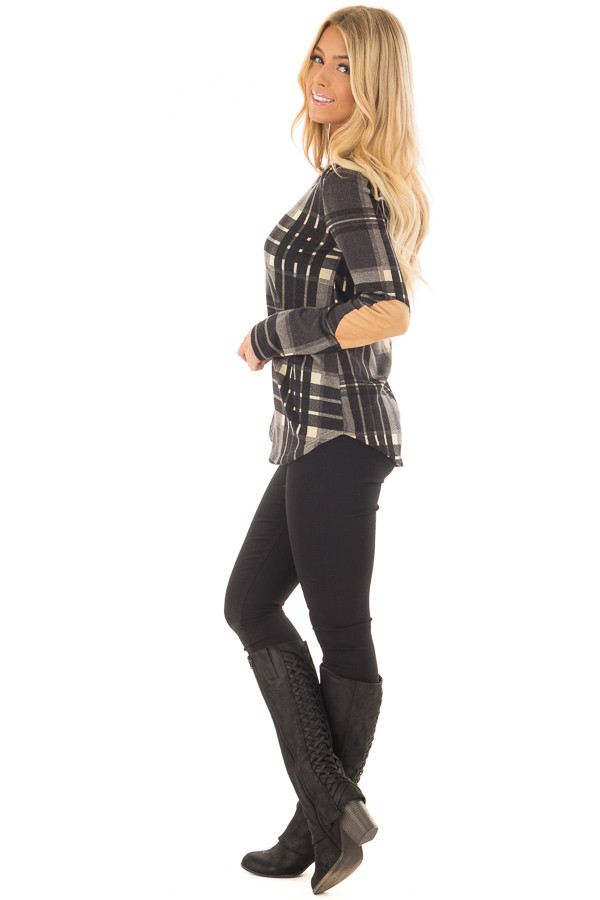 Charcoal Plaid Long Sleeve Top with Faux Suede Elbow Patches side full body