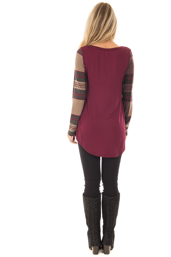 Burgundy Top with Plaid Sleeves and Sequin Breast Pocket back full body