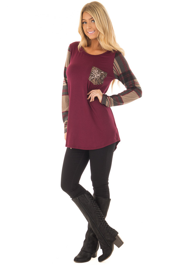 Burgundy Top with Plaid Sleeves and Sequin Breast Pocket front full body