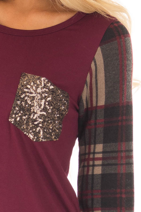 Burgundy Top with Plaid Sleeves and Sequin Breast Pocket detail
