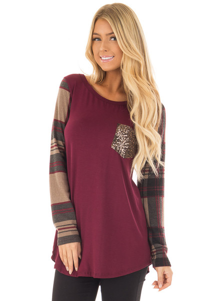 Burgundy Top with Plaid Sleeves and Sequin Breast Pocket front close up