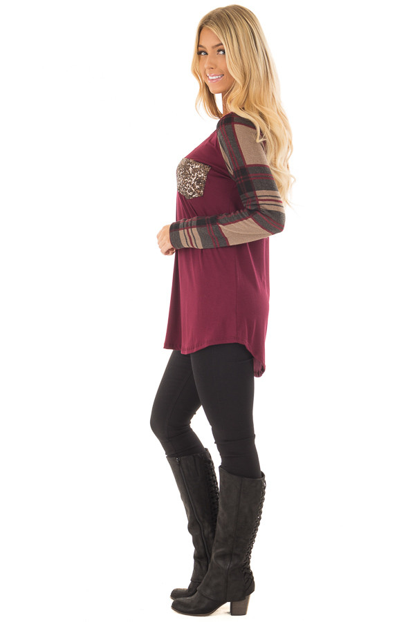 Burgundy Top with Plaid Sleeves and Sequin Breast Pocket side full body