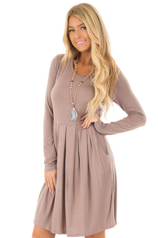 Mocha Long Sleeve Dress with Pockets front close up