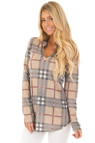 Mocha Plaid Long Sleeve Collared Top front closeup