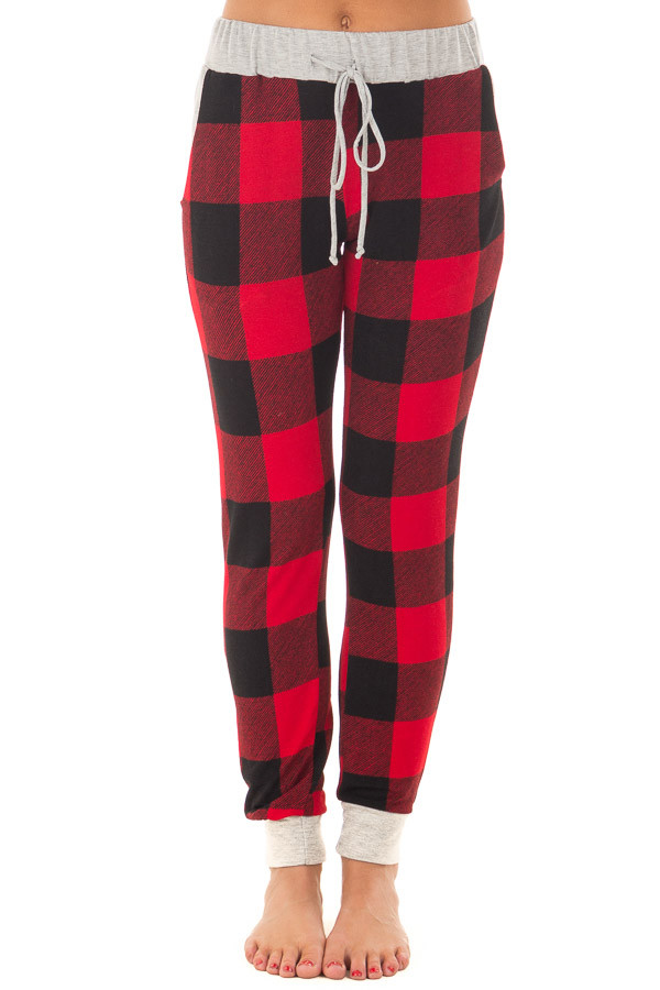 Burgundy Plaid Jogger Pant with Heather Grey Contrast front view