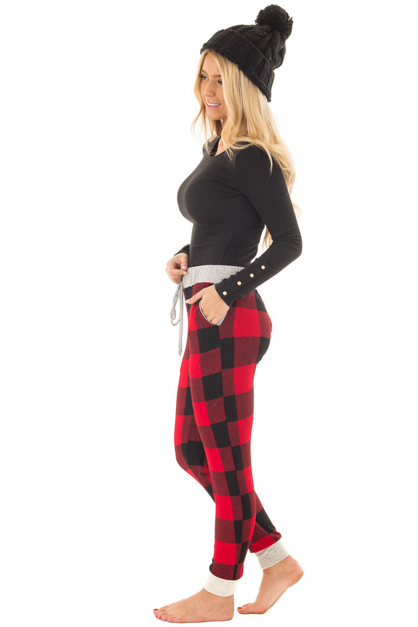 Burgundy Plaid Jogger Pant with Heather Grey Contrast side full body
