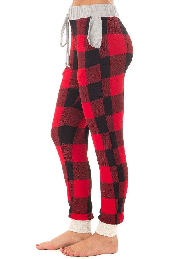 Burgundy Plaid Jogger Pant with Heather Grey Contrast side view