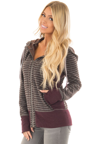 Burgundy Striped Long Sleeve High Neck Zip Up Hooded Jacket front closeup