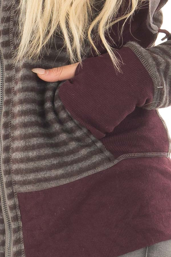 Burgundy Striped Long Sleeve High Neck Zip Up Hooded Jacket front detail