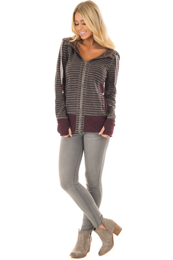 Burgundy Striped Long Sleeve High Neck Zip Up Hooded Jacket front full body
