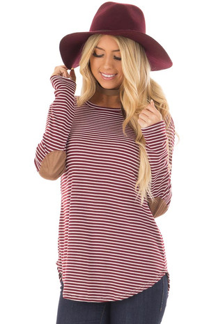 Wine and Ivory Striped Top with Faux Suede Elbow Patches front closeup