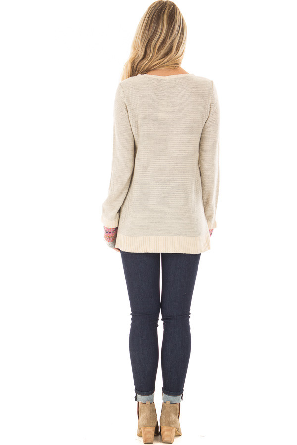 Heather Grey Long Sleeve Top with Pattern Detail Cuffs back full body