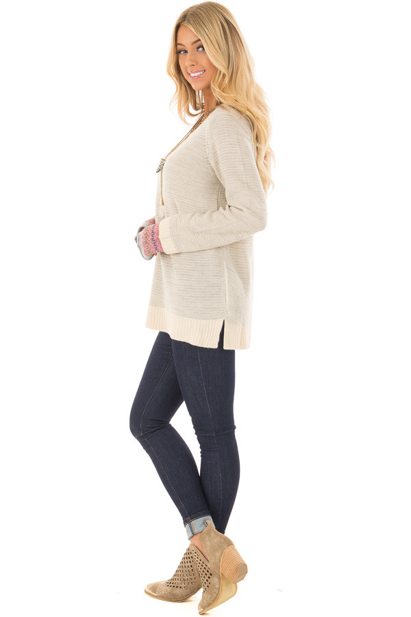 Heather Grey Long Sleeve Top with Pattern Detail Cuffs side full body