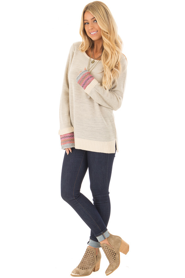 Heather Grey Long Sleeve Top with Pattern Detail Cuffs front full body