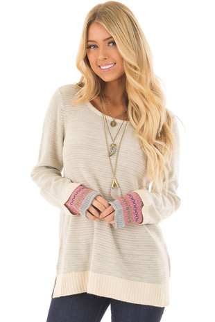 Heather Grey Long Sleeve Top with Pattern Detail Cuffs front closeup