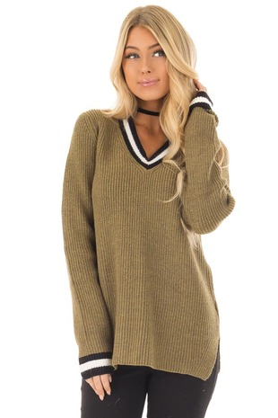 Olive Long Sleeve Sweater with Black and White Stripe Detail front closeup