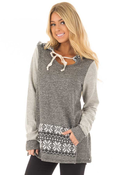 Charcoal Long Sleeve Hoodie with Kangaroo Pocket front close up