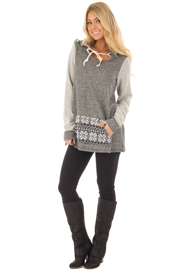 Charcoal Long Sleeve Hoodie with Kangaroo Pocket front full body