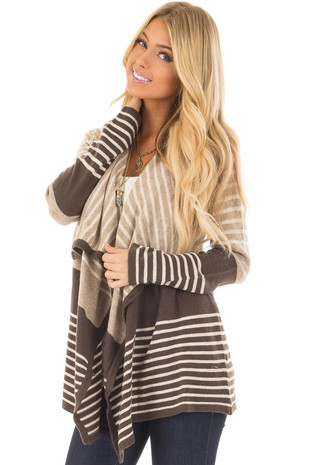 Taupe and Charcoal Striped Long Sleeve Cardigan front closeup