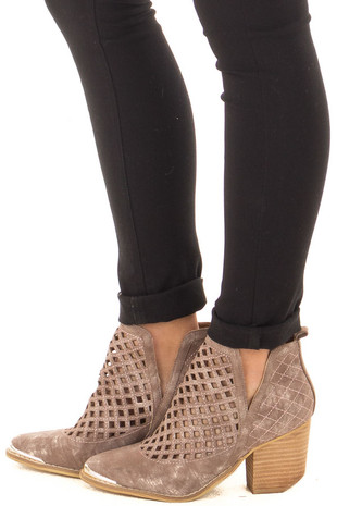 Mauve Bootie with Cut Out Details side