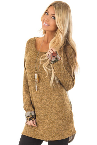 Mustard and Heather Grey Floral Two Toned Long Sleeve Top front closeup