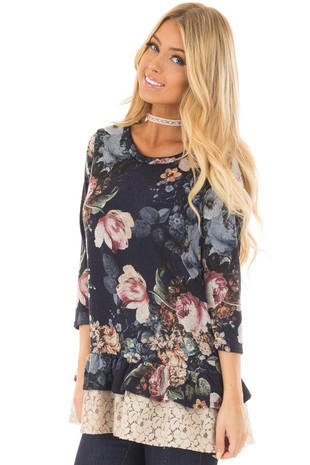 Navy Floral Print 3/4 Sleeve Top with Sheer Lave Details front closeup
