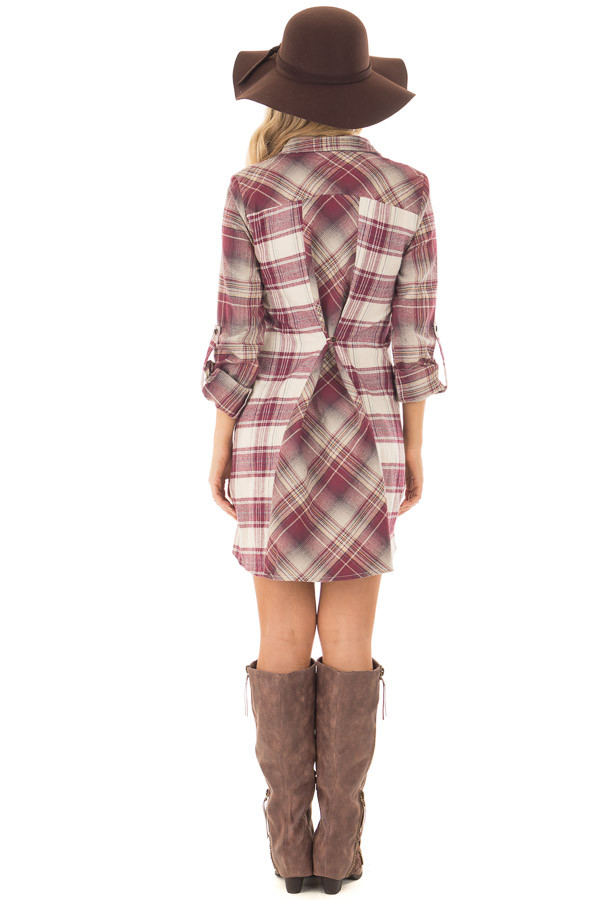 Burgundy Plaid Button Down Dress with Cuffed Sleeves back full body