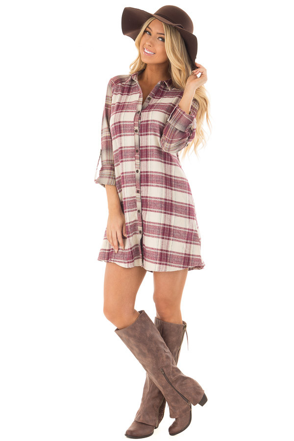 Burgundy Plaid Button Down Dress with Cuffed Sleeves front full body