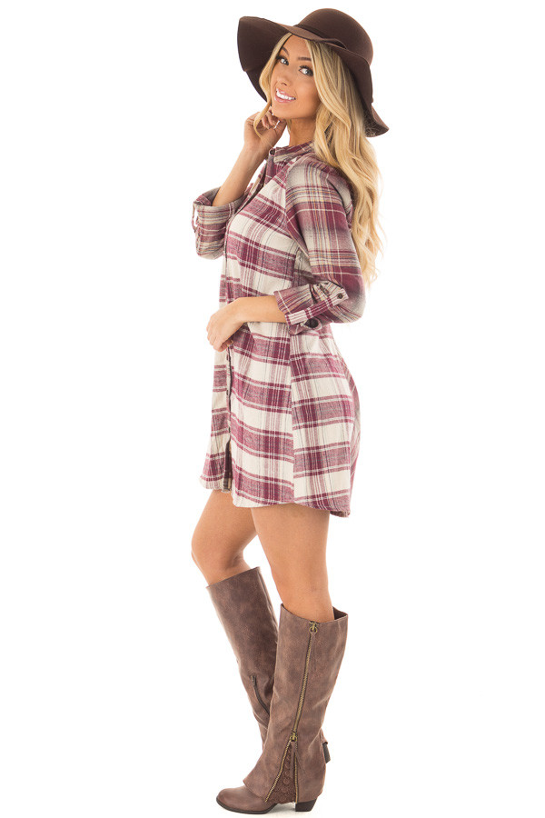 Burgundy Plaid Button Down Dress with Cuffed Sleeves side full body