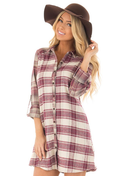 Burgundy Plaid Button Down Dress with Cuffed Sleeves front close up