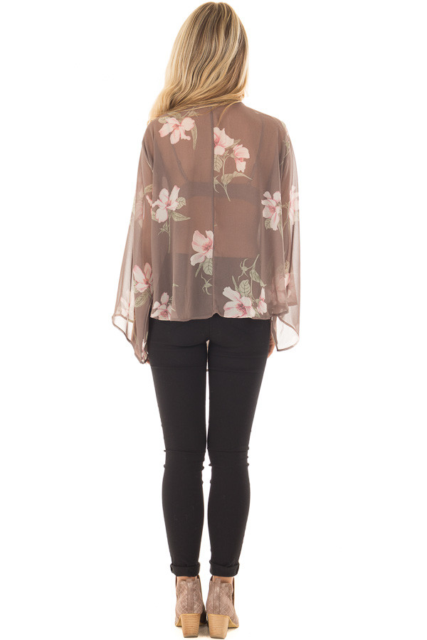 Charcoal Floral Print Sheer Long Sleeve Top with Front Tie back full body