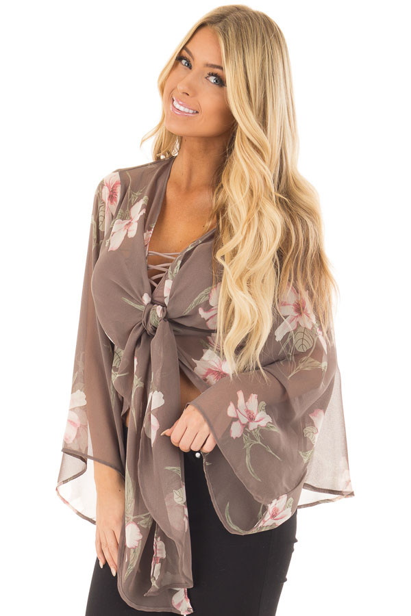 Charcoal Floral Print Sheer Long Sleeve Top with Front Tie front closeup