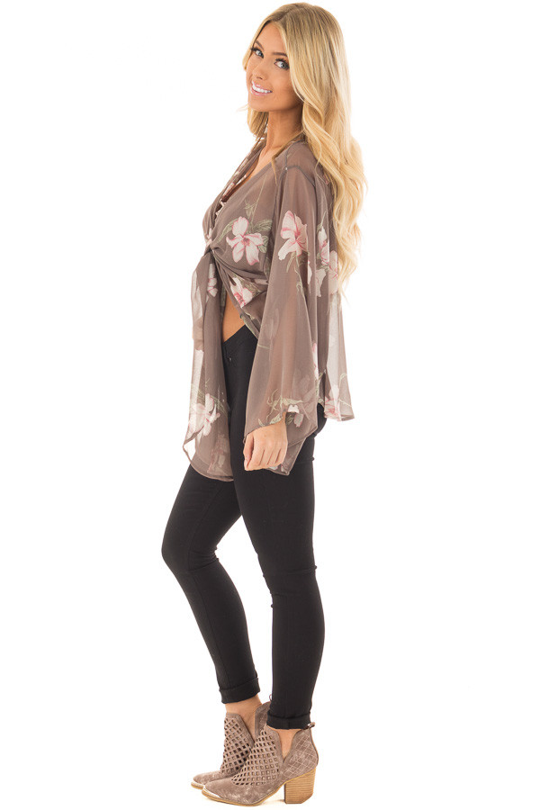 Charcoal Floral Print Sheer Long Sleeve Top with Front Tie side full body