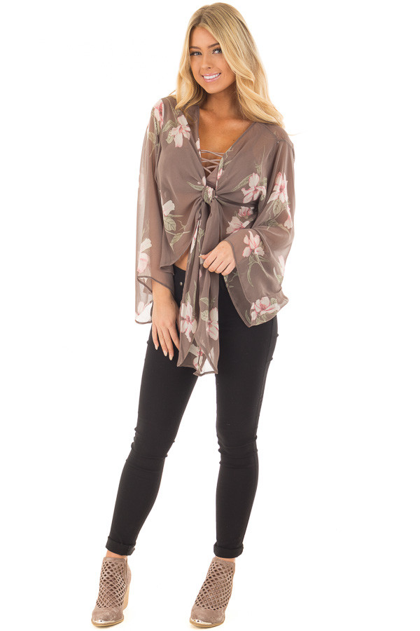 Charcoal Floral Print Sheer Long Sleeve Top with Front Tie front full body