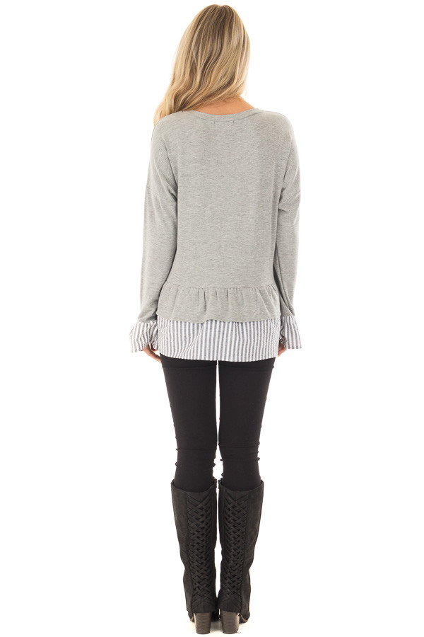 Heather Grey Sweater with Contrasting Tiered Ruffle Hemline back full body