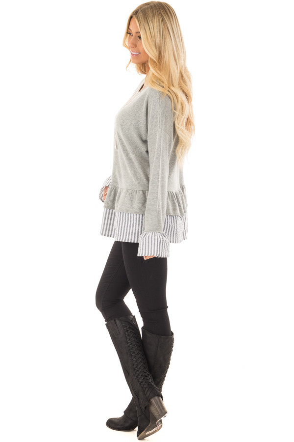 Heather Grey Sweater with Contrasting Tiered Ruffle Hemline side full body