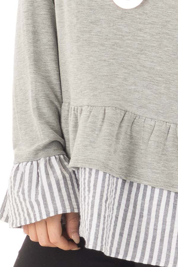 Heather Grey Sweater with Contrasting Tiered Ruffle Hemline front detail