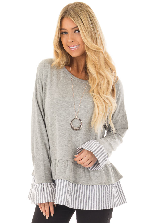 Heather Grey Sweater with Contrasting Tiered Ruffle Hemline front closeup