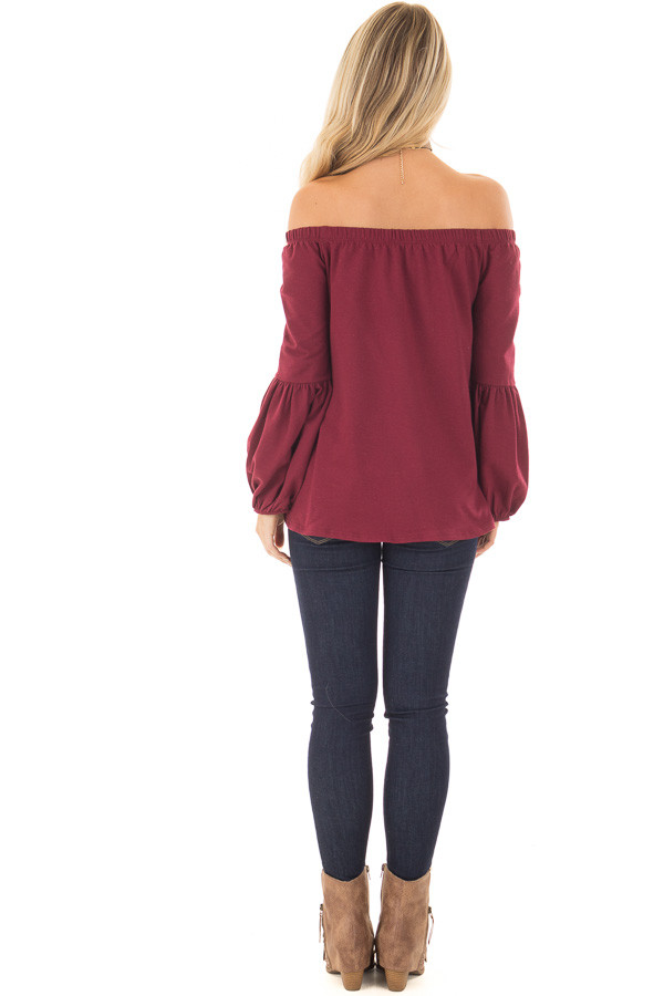 Burgundy Off the Shoulder Bubble Sleeve Sweater back full body