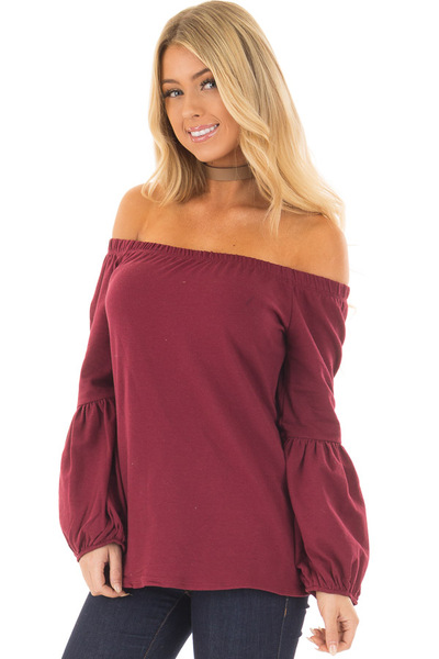 Burgundy Off the Shoulder Bubble Sleeve Sweater front  closeup